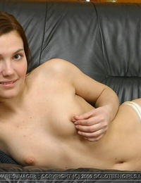 Teen slut uses both hands on her trimmed sweet pussy